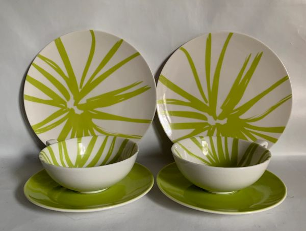 ASA Germany Two Sets Pairs 1960s Style Green Leaf Design Cups, Saucers & Side Plates .