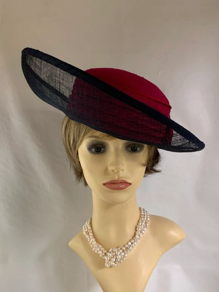Nina Rasmusen Blue Sinamay Brim & Claret Silk Top & Bow Formal Hat Lined .