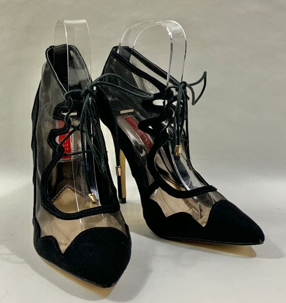 """Atmosphere Black Suede And Net 4"""" Stiletto High Heel Lace Front Mary Jane Shoes Size UK 5 EU 38."""