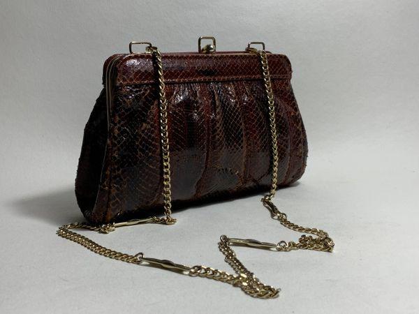 Vintage 1970s Chestnut Snake Skin Clutch Shoulder Bag Gold Tone Chain Strap With Buff Suede Lining.