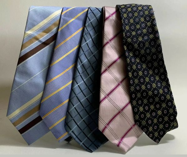 Men's Neck Ties Lot Of 5 Mixed 3 Silk & 2 Polyester Light Blues & Pink