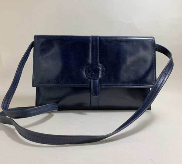 Blue Leather 1970s Clutch Shoulder Bag With Removable Strap Black Fabric Lining