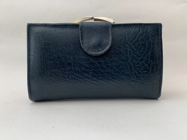 Vintage 1960s Blue Leather Coin Purse Wallet With Blue Leather Lining