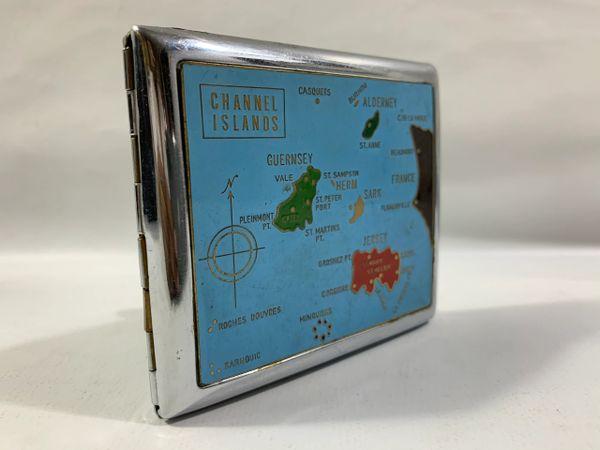 Vintage Turquoise Enamelled Chanel Isle Souvenir Cigarette Case Adjustable Stays
