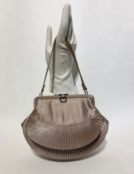 Marks & Spencer Champagne Vintage Inspired Satin Top Handle Evening Handbag With Fitted Purse & Mirror