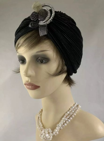 Vintage Retro 1950s Style Black Turban Chemo Removable Plastic Brooch Unlined 22 Inches.