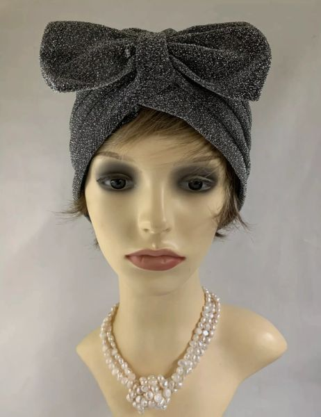 Vintage Retro 1950s Style Silver Lamé Turban/Chemo Removable Bow Unlined 22 Inches.