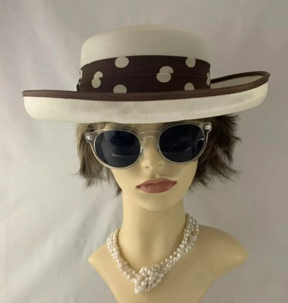 Vintage 1990s Brown & Ivory Dress Hat With Large Brown Spotted Ribbon And Bow Detail.