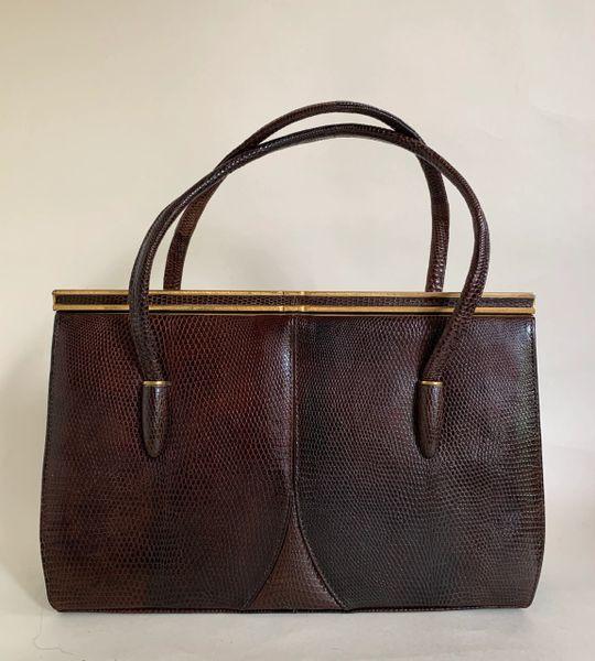 Vintage 1950s Brown Lizard Skin Handbag With Buff Suede Lining