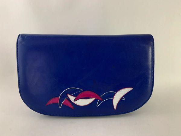 Ferdin Vintage 1980s Blue Leather Clutch Shoulder Bag With Cream Leather Lining And Removable Shoulder Strap