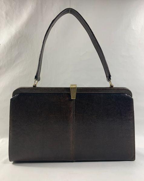 Vintage 1950s Brown Lizard Skin Handbag Pale Blue Suede Lining Covered Frame And Care Card