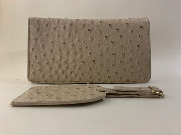 Beige Faux Ostrich Travel Wallet & Address Tag For Travel Cheques Passport.