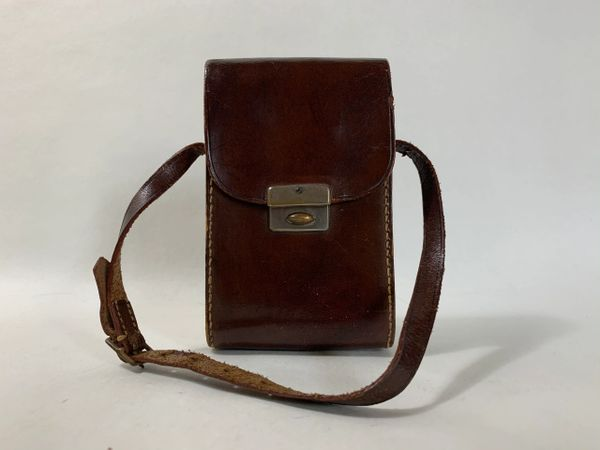 Vintage 1950s Brown Small Leather Light Metre Foldable Camera Case.