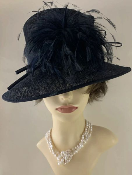 John Lewis Black Unlined Sinamay Hat With Feather Flash To Front Beaded Feather Bones to Side