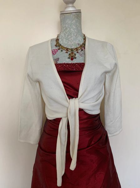 Todays Woman Ivory Tight Knit Tie Front Wrap Long Sleeve Cropped Cardigan Size UK 14 flexible fit.
