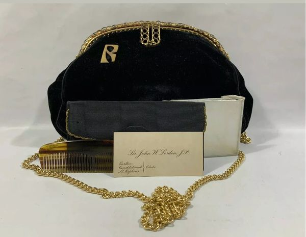 1940s Black Velvet Evening Vintage Handbag Shoulder Bag With Purse Comb & Mirror and Business Card From Sir John W Lorden J.P Carlton Constitutional Club St Stephens