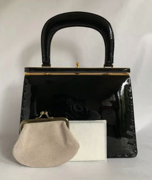Widegate Black Patent Leather 1960s Vintage Handbag Suede Lining & Elbief Frame Purse & Mirror in Original wrapping