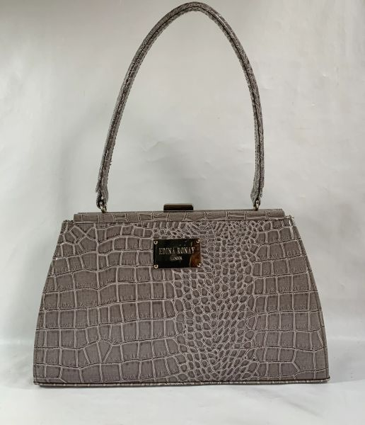 Edina Ronay Vintage Inspired Handbag In Grey Synthetic Moc Croc With Monogrammed Beige Fabric Lining
