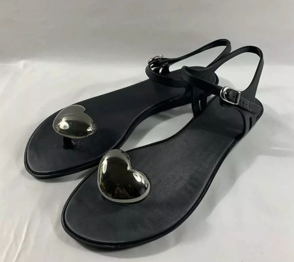 Melissa Black Rubber Silver Heart Shaped Toe Post Flat Sandal Shoe Size UK 6 EU 39