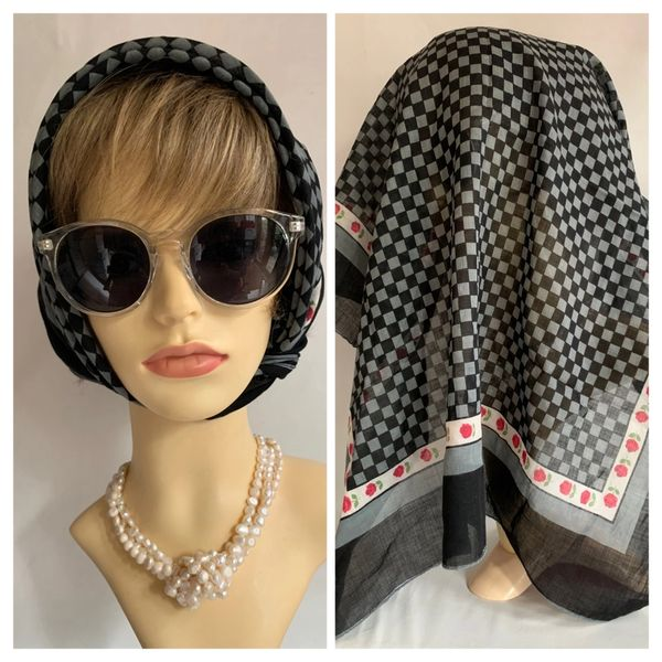 Vintage 1960s Head Scarf Black Grey.Check Rose Pattern Polyester 24' Stitch Hem.