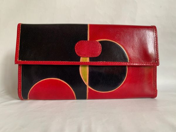 Vintage 1980s Hand Crafted Geometric Pattern Red Green Black Leather Multi Pocket Clutch Bag.