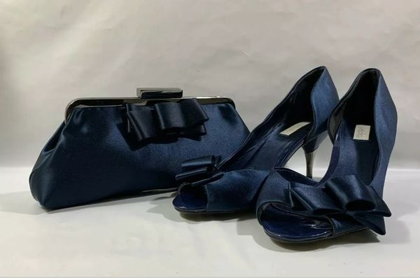 "UNTOLD Dark Blue Clutch Bag & Dorsey Peep Toe 3.5"" Kitten Heel Court Shoe With Front Bow Detail to Both Size UK 7 EU 40"