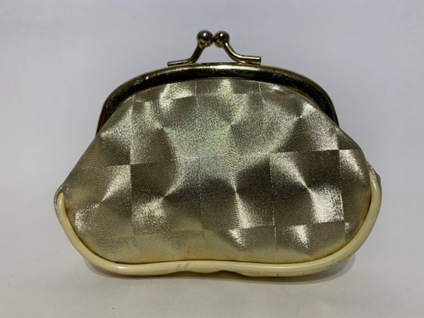 Vintage Inspired Gold Etched Fabric Coin Purse Gold Toned Frame & Kiss Clasp.