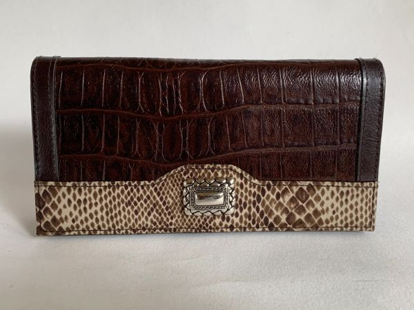 Faux Leather With Embossed Croc Print Pattern Brown Large Purse Wallet With Faux Snake & Brooch Trim