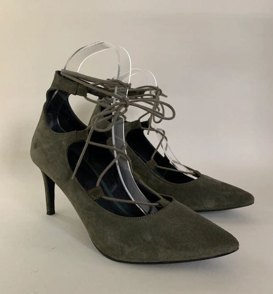 OFFICE Olive Suede Pointed Lace Front Gillie Style Stiletto Heel Shoe