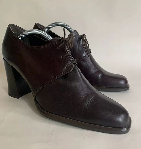 """Clarks Brown Leather 3.25"""" Block Heel Lace Up Shoes Size UK 6 EU 39"""