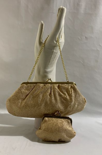Gold Lamé 1960s Vintage Handbag Fabric Lining & Matching Coin Purse