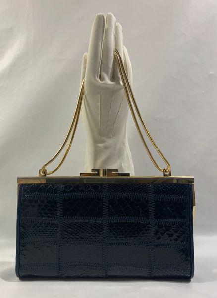 Vintage 1970s Dark Blue Patchwork Snake Skin Clutch Shoulder Bag Chain Strap