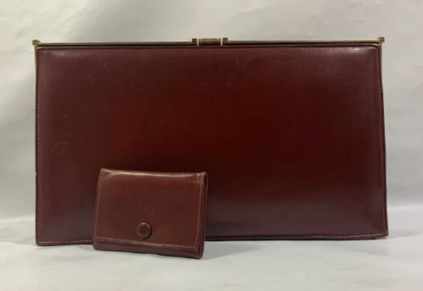 Marisere Vintage 1960s Whisky Tan Leather Clutch Bag With Matching Purse & Beige Leather Lining.