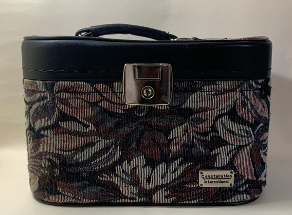 Constellation Vintage 1980s Tapestry Travel Vanity Case With Black Fabric Lining.