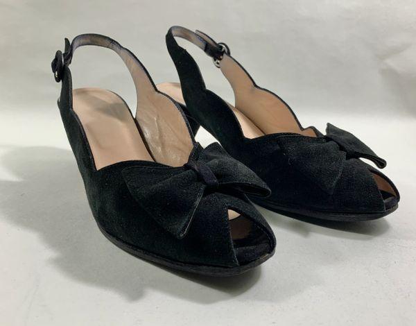 Hobbs Black Suede Leather Sling Back Peep Toe Shoe 2.5' Cone Heel Size UK 7 EU 40