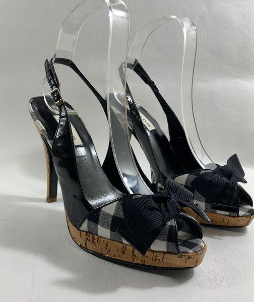 "Dune Black & White Check Bow Front Peeptoe 4.5' Cork Heel & .75"" Platform Size UK 3 EU 36"