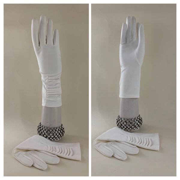 Dents Vintage 1950s Gathered Wrist Off White Cotton 11' Evening Gloves Size 7.5