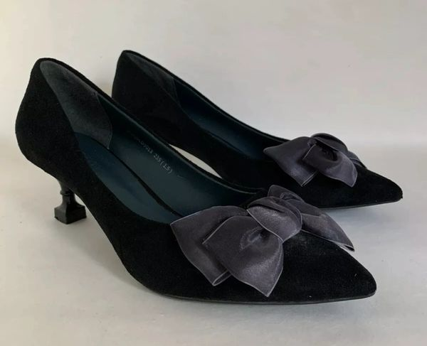 Neevit Black Suede Satin Bow Front Rococo Style Court Shoe With Fancy 2.5' High Heel Size UK 4 EU 37