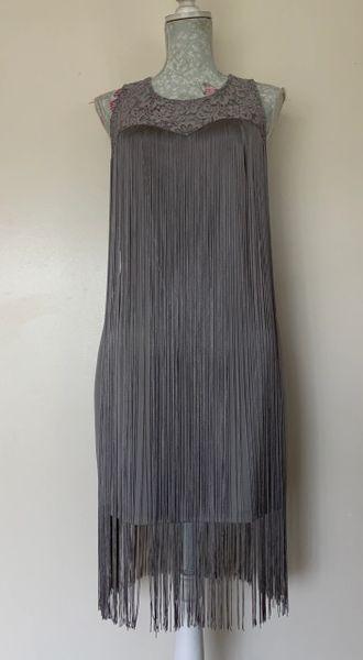 Krisp Grey Flapper Tassel Knee Length Stretch Dress Lace Top Zip Back Evening cocktail dress Size UK 12.