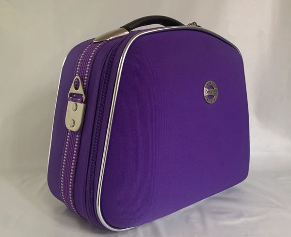 Constellation Lilac Fabric Zipped Vanity Case Shoulder Strap Key And Padlock