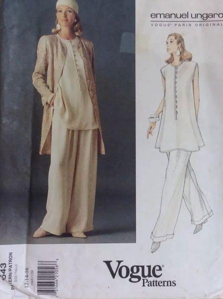 Vogue Designed by Emanuel Ungaro Vintage Vogue Paris Original Emanuel Ungaro - Cut 1990s Sewing Pattern 1543 Size 12-16