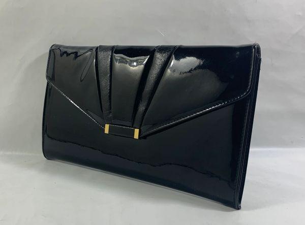Shilton International Japelle 1970s Vintage Black Patent Small Clutch Bag