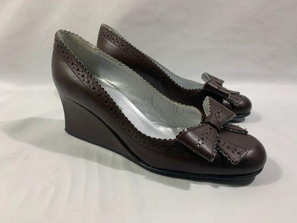 Stephane Kélian Leather Brown Wedge Heel Bow Front Slip On Court Shoes Size UK 4.5. EU 37.5