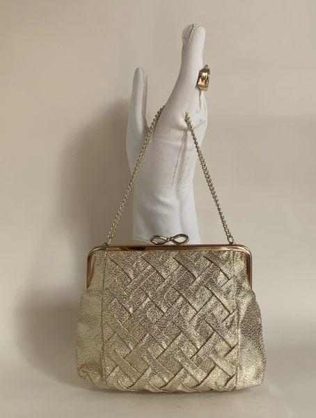 Gold Lamé Fabric 1960s Vintage Handbag Fabric Lining Good Chain Handle Bow Clasp