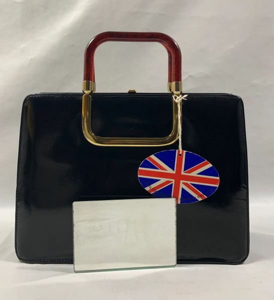 Hamilton Vintage 1960s Black Patent Leather Handbag Suede Lining Mirror & Tag