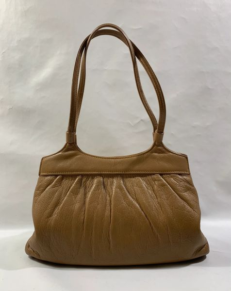 Freedex Camel 1960s Vintage Handbag In Soft Leather With Beige Fabric Lining