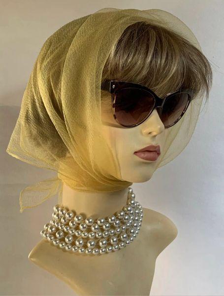 Vintage Mustard Yellow 1960s Nylon Georgette Chiffon Head Scarf Rolled & Stitched Hem Races