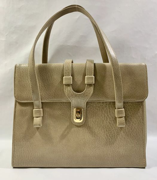WEYMOUTH AMERICAN Vintage 1960s Large Beige Handbag With Brown Satin Lining..
