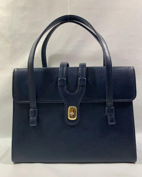 WEYMOUTH AMERICAN Vintage 1960s Large Blue Handbag With Blue Satin Lining..