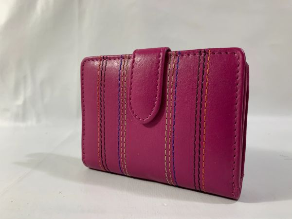 Anna & Robert Cerise Leather Vintage 1990s Purse Wallet Leather Lining